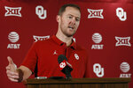 Oklahoma head coach Lincoln Riley answers a question during an NCAA college football media day news conference in Norman, Okla., Friday, Aug. 2, 2019. Riley has done everything his first two years as Oklahoma's coach, including coaching two Heisman winners, but he has not won a national title. (AP Photo/Sue Ogrocki)