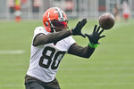 Cleveland Browns wide receiver Jarvis Landry catches a pass during an NFL football practice, Thursday, July 29, 2021, in Berea, Ohio. (AP Photo/Tony Dejak)