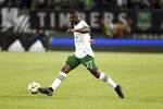 Portland Timbers forward Dairon Asprilla (27) moves the ball during an MLS soccer match against the Colorado Rapids Wednesday, Sept. 15, 2021 in Portland, Ore. (Sean Meagher/The Oregonian via AP)