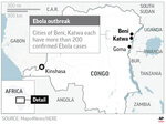 Map locates Katwa and Beni, Congo, where hundreds of Ebola cases have been confirmed;
