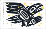 In this image provided by the United States Postal Service is the new Raven Story postage stamp created by Rico Worl. Alaska Native artist Rico Worl says he was excited for the chance to create for the U.S. Postal Service a stamp that he hopes will be a gateway for people to learn about his Tlingit culture. A ceremony marking the release of Worl's Raven Story stamp is set for Friday, July 30, 2021, in Juneau, Alaska. The Sealaska Heritage Institute says this is the first stamp by a Tlingit artist. (USPS via AP)