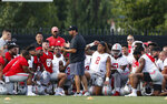Ohio State head coach Ryan Day talks with players during NCAA college football practice, Friday, Aug. 2, 2019, in Columbus, Ohio. (AP Photo/Jay LaPrete)