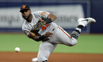 Baltimore Orioles second baseman Hanser Alberto can't get Tampa Bay Rays' Kevin Kiermaier at first on an infield single during the seventh inning of a baseball game Tuesday, April 16, 2019, in St. Petersburg, Fla. (AP Photo/Chris O'Meara)