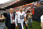 Chicago Bears quarterback Mitchell Trubisky walks to the locker room after being injured during the half of an NFL football game against the Minnesota Vikings Sunday, Sept. 29, 2019, in Chicago. (AP Photo/Charles Rex Arbogast)