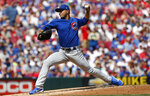 Chicago Cubs starting pitcher Jose Quintana throws against the Cincinnati Reds during the first inning of a baseball game, Saturday, June 29, 2019, in Cincinnati. (AP Photo/Gary Landers)