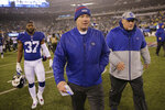 New York Giants head coach Pat Shurmur leaves the field after an NFL football game against the Philadelphia Eagles, Sunday, Dec. 29, 2019, in East Rutherford, N.J. (AP Photo/Seth Wenig)