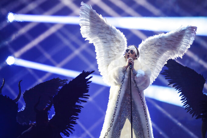 TIX from Norway performs at the first semi-final of the Eurovision Song Contest at Ahoy arena in Rotterdam, Netherlands, Tuesday, May 18, 2021. (AP Photo/Peter Dejong)