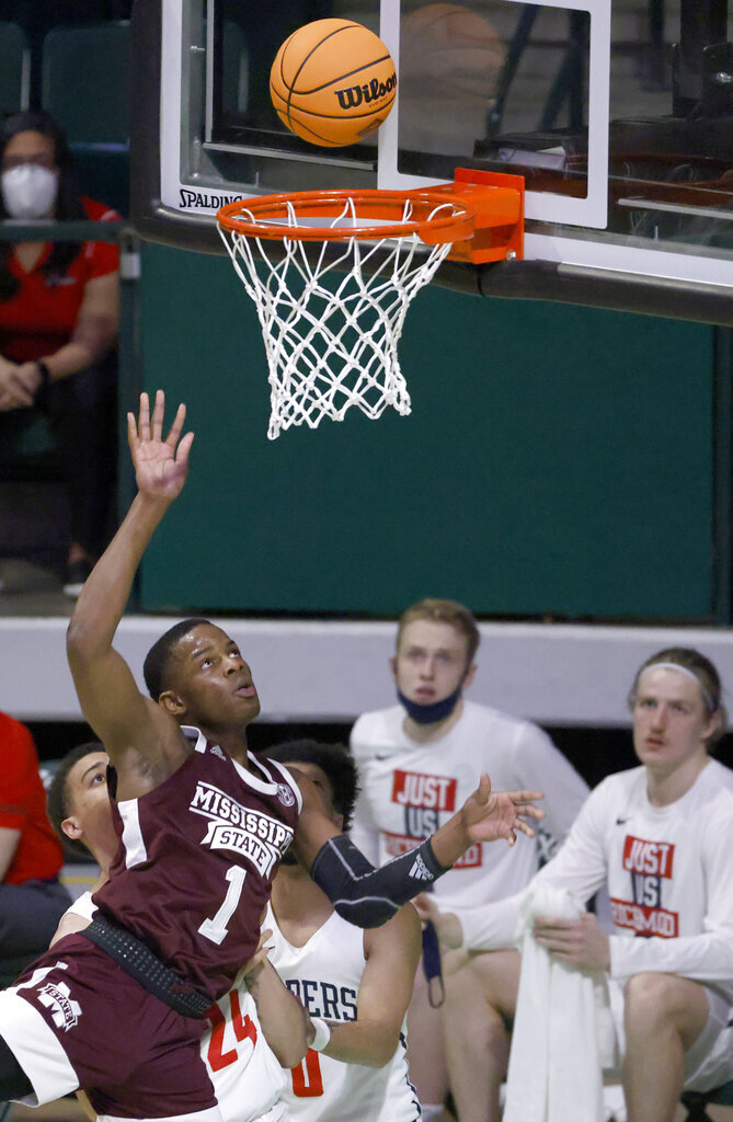 Mississippi State guard Iverson Molinar (1) scores against Richmond during the first half of an NCAA college basketball game in the semifinals of the NIT, Thursday, March 25, 2021, in Denton, Texas. (AP Photo/Ron Jenkins)