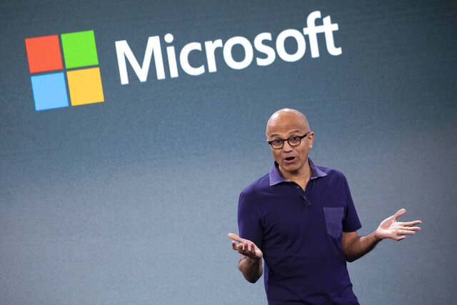 FILE - In this Oct. 2, 2019 file photo, Microsoft CEO Satya Nadella talks during a company event in New York.  Nadella said in June 2020 that the tech company would double the number of Black and African American managers, senior individual contributors and senior leaders by 2025. (AP Photo/Mark Lennihan, File)
