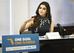 First lady Casey DeSantis addresses panel participants during a roundtable discussion Tuesday, August 4, 2020  in Jacksonville, Fla. Governor Ron DeSantis was joined by first lady Casey DeSantis, Agency for Health Care Administration Secretary Mary Mayhew and Department of Elder Affairs Secretary Richard Prudom along with caregiver Mary Daniel and the VP of Public Policy at the Central and North Florida Alzheimer's Association Michelle Branham at ElderSource. (Bob Self/The Florida Times-Union via AP)