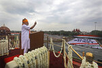 Indian Prime Minister Narendra Modi addresses to the nation on the country's Independence Day from the ramparts of the historical Red Fort in New Delhi, India, Thursday, Aug. 15, 2019. Modi said that stripping the disputed Kashmir region of its statehood and special constitutional provisions has helped unify the country. Modi gave the annual Independence Day address from the historic Red Fort in New Delhi as an unprecedented security lockdown kept people in Indian-administered Kashmir indoors for an eleventh day. (AP Photo/Manish Swarup)