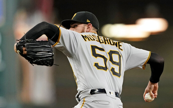 Pittsburgh Pirates starting pitcher Joe Musgrove throws against the Houston Astros during the first inning of a baseball game Thursday, June 27, 2019, in Houston. (AP Photo/David J. Phillip)
