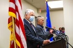 Nevada Gov. Steve Sisolak provides an update on COVID-19 regulations for entertainment venues in Nevada at the Sawyer Building in Las Vegas on Monday, Aug. 16, 2021. (Chase Stevens/Las Vegas Review-Journal via AP)