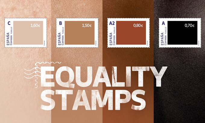 """This photo released by Spain's postal service Correos on Friday May 28, 2021, shows a set of four stamps to signify different skin-colored tones. Spain's postal service is feeling a backlash from its well-intentioned effort to highlight racial inequality. The company this week issued a set of four stamps in different skin-colored tones. The darker the stamp, the lower the price. The postal service calls them """"Equality Stamps"""" and launched them on the first anniversary of George Floyd's murder in Minneapolis. It said the stamps """"reflect an unfair and painful reality that shouldn't be allowed."""" The state-owned company's goal was to """"shine a light on racial inequality and promote diversity, inclusion and equal rights."""" But critics are accusing it of having a tin ear for racial issues and misreading Black sentiment. (Correos via AP)"""