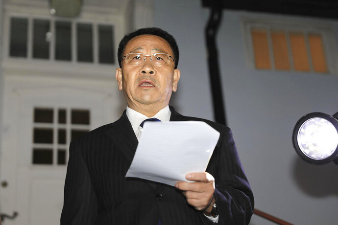 North Korean negotiator Kim Miyong Gil reads statement outside the North Korean Embassy in Stockholm, Sweden, Saturday, Oct. 5, 2019. North Korea's chief negotiator said Saturday that discussions with the U.S. on Pyongyang's nuclear program have broken down, but Washington said the two sides had