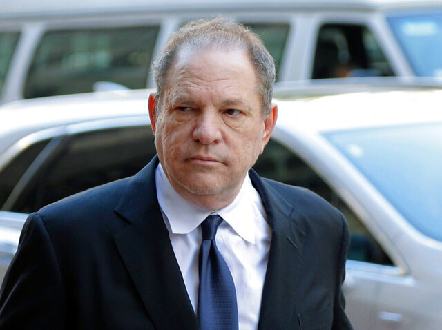 FILE - In this July 9, 2018 file photo, Harvey Weinstein arrives for a pre-trial hearing in New York. Weinstein's trial begins Monday, Jan. 6, 2020, more than two years after a torrent of women began accusing him of misconduct. (AP Photo/Seth Wenig, File)