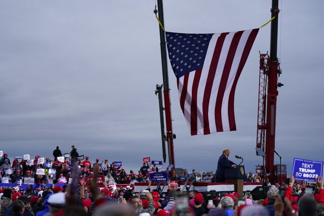 President Donald Trump speaks during a campaign rally at MBS International Airport, Thursday, Sept. 10, 2020, in Freeland, Mich. (AP Photo/Evan Vucci)