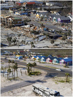In this combination of photos, homes line a street on Oct. 12, 2018, top, following devastation from Hurricane Michael in Mexico Beach, Fla., and on May 3, 2019. (AP Photos)