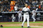 New York Yankees' Aaron Hicks reacts after striking out against the Houston Astros during the sixth inning in Game 3 of baseball's American League Championship Series Tuesday, Oct. 15, 2019, in New York. (AP Photo/Matt Slocum)