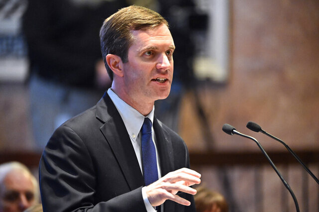 Kentucky Gov. Andy Beshear delivers the State of the Commonwealth Address to a joint session of the state legislature at the Kentucky State Capitol in Frankfort, Ky., Tuesday, Jan. 14, 2020. (AP Photo/Timothy D. Easley)