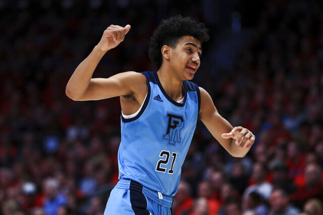 Rhode Island's Jacob Toppin reacts as he runs the court during an NCAA college basketball game against Dayton, Tuesday, Feb. 11, 2020, in Dayton, Ohio. Dayton won 81-67. (AP Photo/Aaron Doster)