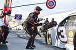 Austin Dillon (3) pits during a NASCAR Cup Series auto race at Dover International Speedway, Sunday, Aug. 23, 2020, in Dover, Del. (AP Photo/Jason Minto)