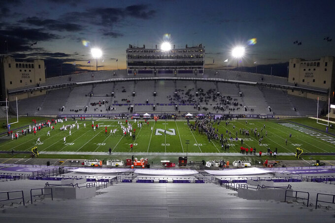 The stands at Ryan Field are empty at an NCAA college football game between Maryland and Northwestern in Evanston, Ill., Saturday, Oct. 24, 2020. (AP Photo/Nam Y. Huh)