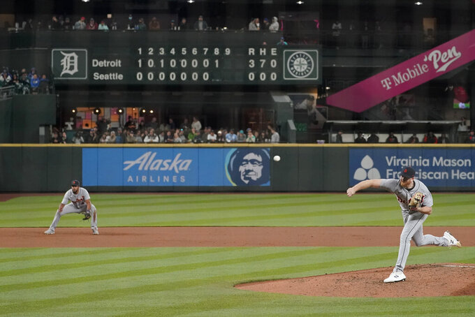 Detroit Tigers starting pitcher Spencer Turnbull throws to a Seattle Mariners batter during the eighth inning of a baseball game Tuesday, May 18, 2021, in Seattle. (AP Photo/Ted S. Warren)