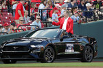 St. Louis Cardinals 2021 Hall of Fame inductee John Tudor is introduced to the fans prior to a baseball game against the Pittsburgh Pirates, Saturday, Aug. 21, 2021, in St. Louis. (AP Photo/Tom Gannam)
