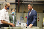 Gov. Kevin Stitt, right, tours Mingo Aerospace in Owasso, Okla., which received a $113,550 award from OBBAP to fund a project designed to bring outsourced repairs from Tinker Air Force Base in Oklahoma City back into the state. (Art Haddaway/Tulsa World via AP)