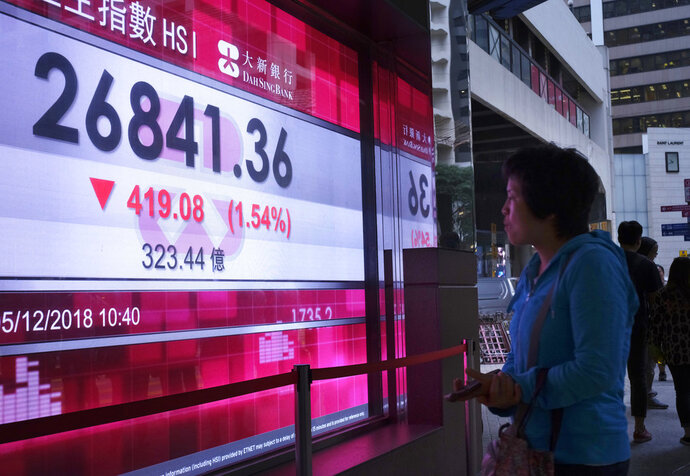 A woman looks at an electronic board showing Hong Kong share index outside a local bank in Hong Kong, Wednesday, Dec. 5, 2018. Shares were moderately lower in Asia on Wednesday following a bloodletting on Wall Street as goodwill generated by a truce between the U.S. and China over trade evaporated in confusion over exactly what the two sides had agreed upon. (AP Photo/Vincent Yu)