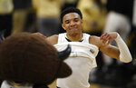 Colorado guard Tyler Bey celebrates after an NCAA college basketball game against California, Thursday, Feb. 6, 2020, in Boulder, Colo. (AP Photo/David Zalubowski)