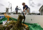 Salvatore Cuccia, 21, of Clearwater, right, and Tyler Copeland, 28, of St. Petersburg deposit dead fish in the bow of a boat Thursday, June 17, 2021 in the intracoastal waters between Clearwater and Dunedin. Pinellas County had small boats retrieving dead fish in Dunedin and around Clearwater Harbor Thursday. The fish kill is attributed to the recent Red Tide bloom.  (Chris Urso /Tampa Bay Times via AP)