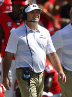Georgia head coach Kirby Smart walks the sidelines during the first half of an NCAA college football game against Austin Peay, Saturday, Sept. 1, 2018, in Athens, Ga. (AP Photo/Mike Stewart)