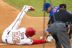 RETRANSMISSION TO CORRECT PLAY - New York Mets shortstop Andres Gimenez, back right, tags out Washington Nationals Juan Soto as Soto tried to advance on a single by Asdrubal Cabrera during the fourth inning of a baseball game in Washington, Wednesday, Aug. 5, 2020. (AP Photo/Manuel Balce Ceneta)