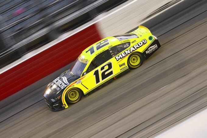Ryan Blaney races in a NASCAR Cup Series auto race Sunday, Sept. 5, 2021, in Darlington, S.C. (AP Photo/John Amis)