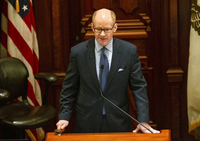 Illinois Senate President Don Harmon, D-Oak Park, gavels out to close the session after taking the oath to become the next Senate President of the Illinois Senate at the Illinois state Capitol, Sunday, Jan. 19, 2020, in Springfield, Ill. (Justin L. Fowler/The State Journal-Register via AP)