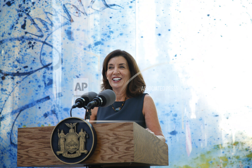 Governor Kathy Hochul speaks at the Hurricane Maria memorial in New York, US - 20 Sept 2021