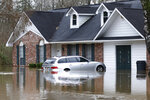 Water from the Pearl River floods this northeast Jackson, Miss., home and car, Sunday, Feb. 16, 2020. Authorities believe the flooding will rank as third highest, behind the historic floods of 1979 and 1983. (AP Photo/Rogelio V. Solis)