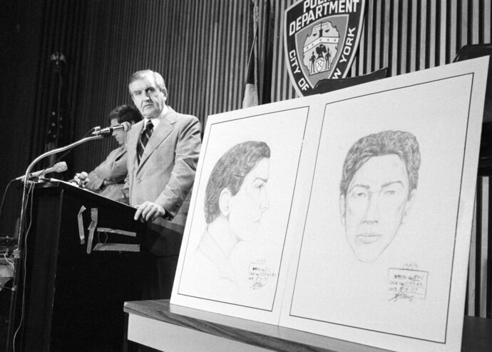 In this Aug. 9, 1977 file photo, John Keenan, chief of detectives, speaks at a press conference at New York City Police headquarters after two new sketches of the
