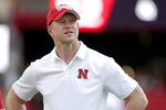 Nebraska head coach Scott Frost follows warmups before an NCAA college football game against Northern Illinois in Lincoln, Neb., Saturday, Sept. 14, 2019. (AP Photo/Nati Harnik)