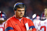 Mississippi coach Matt Luke walks the sideline during the first half of the team's NCAA college football game against Auburn, Saturday, Nov. 2, 2019, in Auburn, Ala. (AP Photo/Butch Dill)
