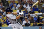 Houston Astros' Jake Meyers breaks his bat as he grounds out during the ninth inning of the team's baseball game against the Los Angeles Dodgers on Tuesday, Aug. 3, 2021, in Los Angeles. (AP Photo/Marcio Jose Sanchez)
