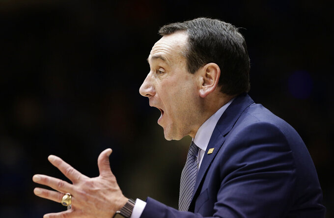 Duke head coach Mike Krzyzewski reacts during the second half of an NCAA college basketball game against Syracuse in Durham, N.C., Monday, Jan. 14, 2019. Syracuse won 95-91. (AP Photo/Gerry Broome)