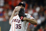 Houston Astros starting pitcher Justin Verlander throws against the New York Yankees during the first inning in Game 2 of baseball's American League Championship Series Sunday, Oct. 13, 2019, in Houston. (AP Photo/Eric Gay)