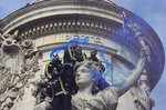 Firemen use blue flares atop a statue as they protest with hospital staff on wages, working conditions and pensions, Tuesday, Oct. 15, 2019 in Paris. (AP Photo/Michel Euler)
