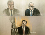 Court artist sketch by Elizabeth Cook, depicting Ian Mill QC, top left, Justin Rushbrooke QC, top right, and judge Mr Justice Warby, bottom, at the Royal Courts of Justice in London, Tuesday Jan. 19, 2021, during Meghan Duchess of Sussex's High Court privacy action against Associated Newspapers (ANL) for their publication of a handwritten letter to her estranged father. Meghan Duchess of Sussex is suing publisher of the Mail on Sunday newspaper over articles which reproduced parts of a letter sent to her father Thomas Markle in August 2018. (Elizabeth Cook/PA via AP)