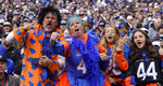 Boise State fans show their support in the first half during an NCAA college football game against BYU Saturday, Oct. 9, 2021, in Provo, Utah. (AP Photo/Rick Bowmer)