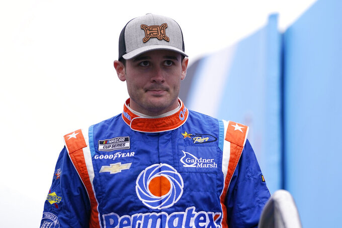 Quin Houff at a NASCAR Cup Series auto race, Sunday, July 18, 2021, in Loudon, N.H. (AP Photo/Charles Krupa)