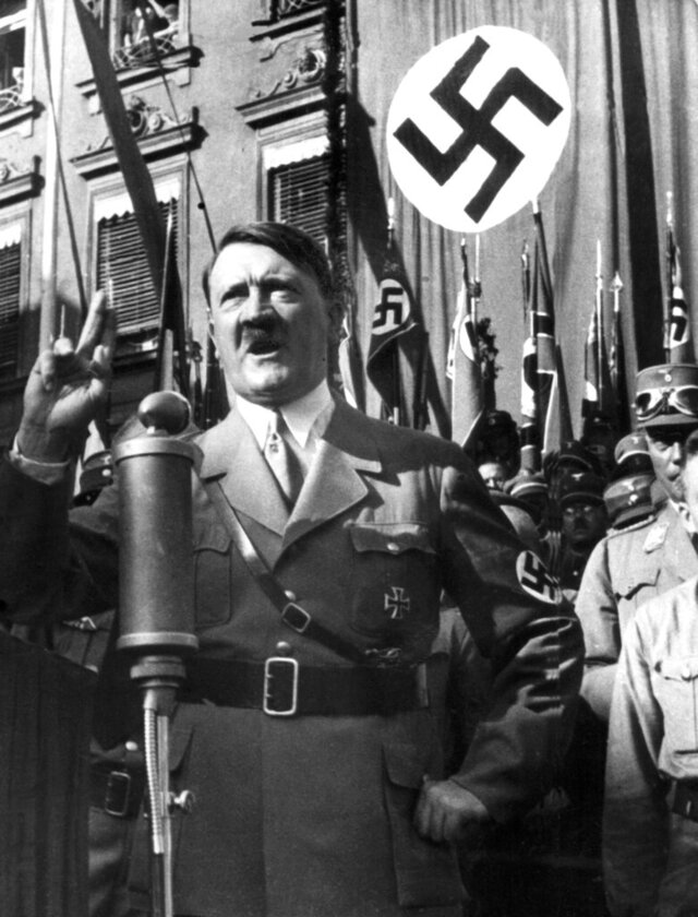 "FILE - An undated file picture shows the leader of the National Socialists Adolf Hitler, gesturing during a speech. A prominent European Jewish organization is criticizing a Munich auction house's decision to sell several of Nazi dictator Adolf Hitler's handwritten speeches, saying it ""defies logic, decency and humanity"" to put them on the market(dpa via AP, file)"